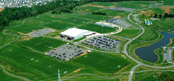 "alt=""Aerial shot of the Maryland SoccerPlex"""