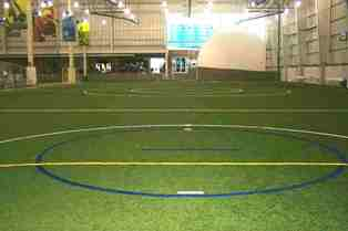"alt=""Indoor soccer field at Discovery Sports Center"""